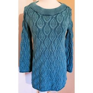Soft Surroundings Chunky Knit Teal Sweater